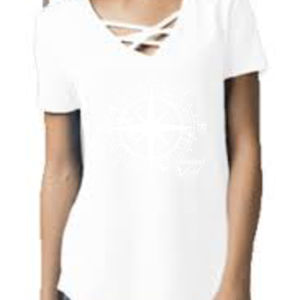 Compass - Shootout Gal Women's Cage Front T-Shirt White Thumbnail